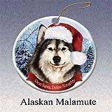 Holiday Pet Gifts Alaskan Malamute Santa Hat Dog Porcelain Christmas Tree Ornament