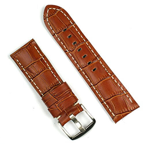 Honey Brown Gator with White-stitch Leather Watchband for Panerai 24mm Long