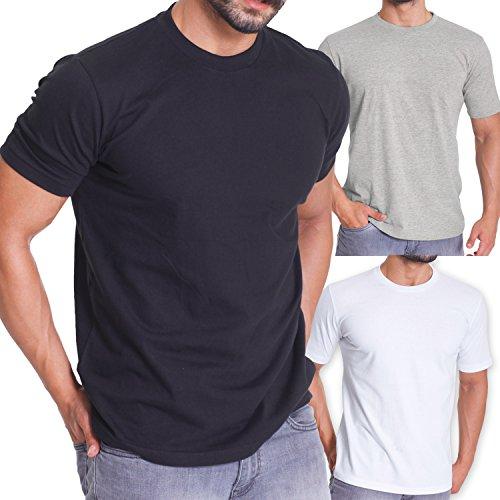 celodoro - Confezione da 3 t-shirt da uomo - regular fit - nero/grigio mélange/bianco - M
