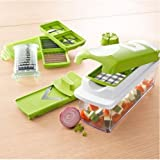 Cool-Shop® Nicer Dicer Multipurpose Chopper-stainless Steel Blade for Quick Spiral Slicing-grater Kitchen Tool Set-one Touch Food Chopper, Slicer and Cutter-12 Pieces (12 in 1, Green)
