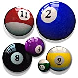 Pool / Billiard Ball Prints for Rec Room, Office Decor or Man Cave Decoration. Home Bar Sign Alternative. Set of 6 Round Stretched Canvas Panels. Go Balls to the Wall! It's Round Art with an Edge.