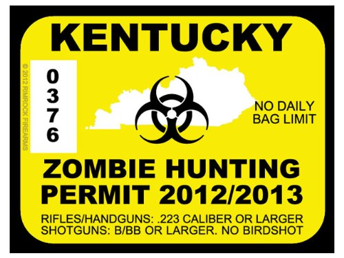 Kentucky Zombie Hunting Permit 2012 (Bumper Sticker)