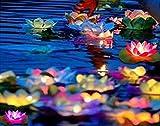 Qich® Solar Power LED Lotus Light Flower Lamp Floating Pond Garden Pool Nightlight Floating Pond Garden pool Flower Light Lamp