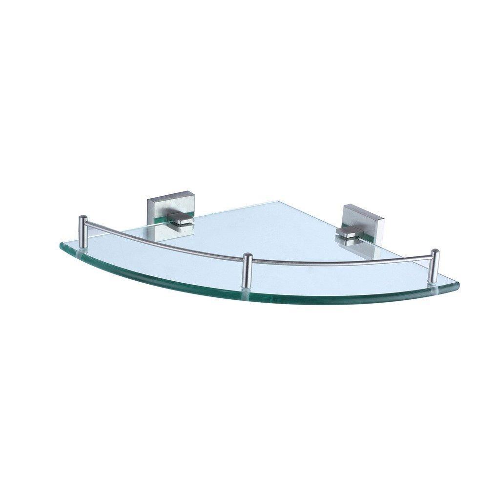 Wall Mouned Bathroom Corner Glass Shower Shelf Stainless Steel Nickel