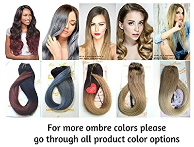 "Tressmatch 16""(18"") Remy (Remi) Human Hair Clip in Extensions Ombre/dip Dye Off Black/Medium/Chestnut Brown Full Head Volume Set 10 Pieces(pcs) [Set Weight: 130grams]"