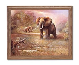 African Elephant Safari Animal Wildlife Wall Picture Oak Framed Art Print