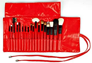18pce Professional Makeup Brush Set Rolled in a Soft Red Travel Organizer - Superior Quality Brushes include the Perfect Foundation, Powder, Fan, Concealer, Contouring and Angled Brow Brushes - The Perfect Set whether You are New to Makeup Brushes or a Pro. Fantastic Starter Set - A Great Gift - Read Our Satisfied Buyer Reviews -100% Money Back Guarantee