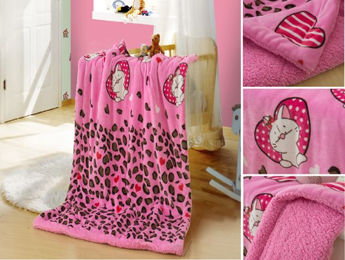 "New Baby Size Super Soft Blanket Hight Quality 100% Polyester Animal Cartoon Bed Plush Throws Pink Kitty 39"" X 51"" front-160705"