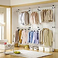Portable Indoor Garment Rack Tools-free DIY Coat Hanger Clothes Wardrobe 4 Poles 6 Bars. Heavy Duty…