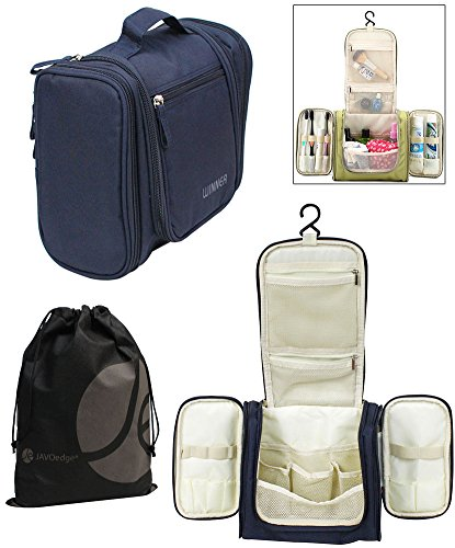 Dark Blue Personal / Family Travel Bathroom Hanging Organizer for Toiletry, Cosmetic, Makeup with Bonus Storage Bag (Personal Organizer Bathroom compare prices)