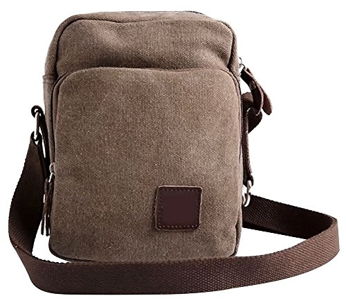Coco*Store Men's Small Travel Hiking Fanny Brown Military Canvas Messenger Shoulder Bag