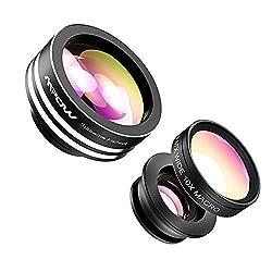 Mpow MFE1 3-in-1 Clip-On 180 Degree Supreme Fisheye + 0.65X Wide Angle+ 10X Macro Lens