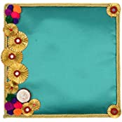 Festivities Satin Decorative Tray (28 Cm X 24 Cm X 28 Cm, FE05)