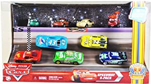 """Mattel 1:55 Scale Diecast Disney Pixar Movie Series """"Cars"""" Exclusive Piston Cup Nights Racing Series Speedway 9-pack Set with Dash Boardman, Houser Boon, Tim Rimmer, Timothy Twostroke, Lightning Mcqueen, the King, Chick Hicks, Sidewall Shine No.74 and Clutch Aid No. 121"""