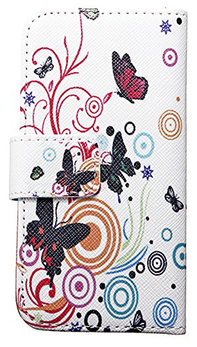 Mylife (Tm) Snow And Multi Color Butterfly - Contemporary Design - Textured Koskin Faux Leather (Card And Id Holder + Magnetic Detachable Closing) Slim Wallet For Iphone 5/5S (5G) 5Th Generation Itouch Smartphone By Apple (External Rugged Synthetic Leathe