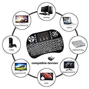 2018 Rii i8 LED Backlit 2.4GHz Mini Wireless Keyboard with Touchpad Mouse For Smart TV Box, MAG IPTV, Buzz tv, dreamlink, PS3/PS4 etc.Rechargable Li