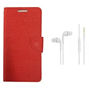 CellRize Flip Cover For Micromax Canvas Spark 3 With White Headphones-Red