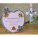 Grandma Gift Set - Candle Holder & Ornament -- Heart Shaped Glass Candle Holder With The Saying God Couldn't Be...