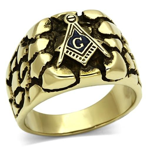 Men'S Stainless Steel Ion Gold Plating Masonic Nugget Ring, Size 8,9,10,11,12,13 (13)
