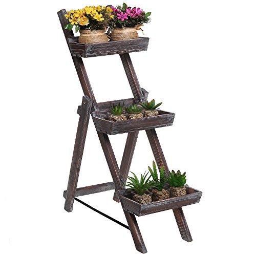 design dark brown wooden plant rack flower planter box display stand ...
