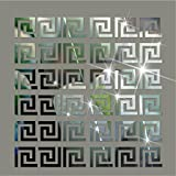 Ximei 10pcs Modern Acrylic Plastic Mirror Tile Stickers Wall Decal Home Decor DIY Art For Living Room Bedroom...