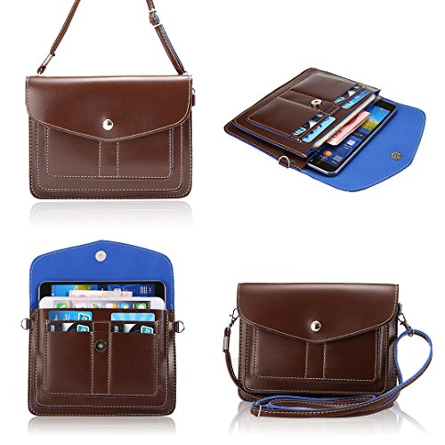 Universal Fashion Soft PU Leather Cell Phone Bag Purse Case with Shoulder Strap & Metel Buckle Cross Body Wallet Pouch for iPhone6s/6s plus/6s/6plus/5s/4s and other mobiles(Brown)