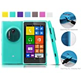 Nokia Lumia 1020 case (Turquoise) AnoKe@ (Inbuilt Dust Plug for Earphone Jack and Charging Port) Slim Fit Semitransparent TPU Frosted Soft Phone Cover Case (Koppu Turquoise)