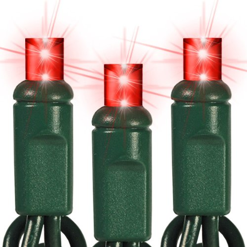 (70) Bulbs - Led - Red Wide Angle Mini Christmas Lights - Length 24 Ft. - Bulb Spacing 4 In. - 120V - Green Wire