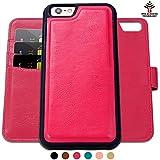 SHANSHUI iphone6/6sケース 手帳型 分離式 ローズレッド