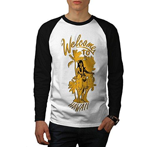 Welcome To Hawaii Palm Tree Men NEW White (Black Sleeves) M Baseball LS T-shirt | Wellcoda (Bbq Island Umbrella Sleeve compare prices)