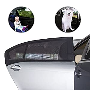 Car Window Shade Ecooltek Rear Window Sun Shade Sock Cover with Double Layer Protects Your Baby Kids from Sun for Most Household Compact cars