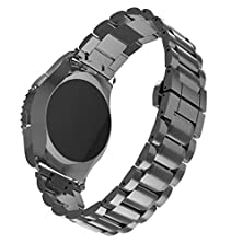 buy Stainless Steel,Samsung Galaxy Gear S2 Classic Surper® Luxury Stainless Steel Watch Band Strap Noble Metal Clasp For Samsung Galaxy Gear S2 Classic Sm-R732 (Black)