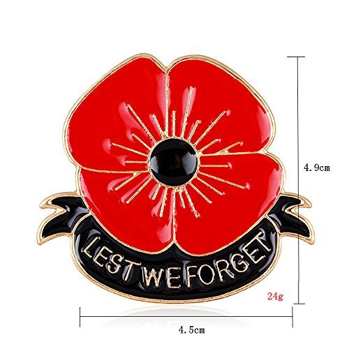 Lest We Forget Christmas Poppy Brooch Pin Wedding Xmas Flower Broach for Family Friend New Year Gift