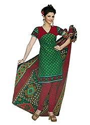 Araham Sea Green Printed 100% Cotton Unstitched Salwar Suit Dress Material