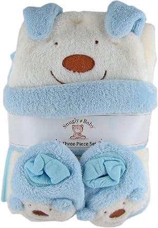 Snugly Baby 3 Pc Set Blue Fleece Baby Blanket w/ Booties Hat