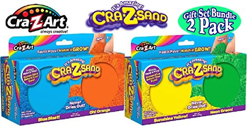 Cra-Z-Art Cra-Z-Sand Blue Blast! & Oh! Orange 2 Pack Refill and Sunshine Yellow! & Neon Green! 2 Pack Refill Gift Set Bundle - 2 Pack (4 Colors Total)