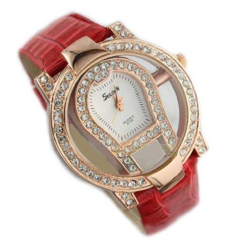 Hot Fashion Women Ladies Crystal Hollow Leather Quartz Wrist Watch-Red