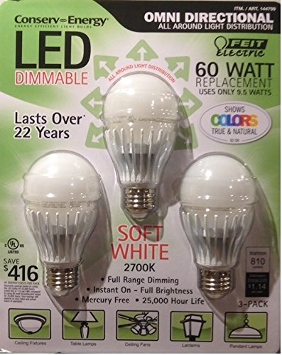 Feit 9.5 Watts A19 Led Light Bulbs 3 - Pack (Equiv To 60 Watts) 2700K Color
