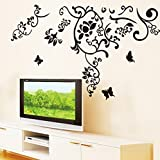 Oren Empower Black Flower Art Decorative Branch Large Wall Sticker For Living Room (Finished Size On Wall - 145...