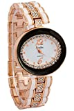 Timiho White Crystal Studded Dial Black And Gold Studded Belt Watch For Women