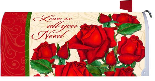Love is All You Need Red Roses Magnetic Mailbox Cover