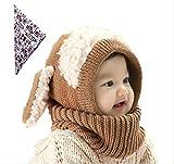 【On Dolce】 選べる5色 うさぎちゃん風 ニット帽 ニット帽子 ベビー キッズ 赤ちゃん 子 子供 用 かわいい  ※ バンダナ 付き