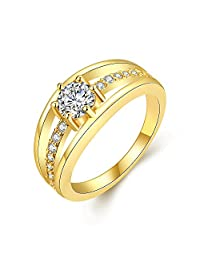Single Stone Sparkling Layer 18K Gold Plated Cubic Zircon Designer Ring For Women By YELLOW CHIMES ...