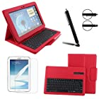 Boriyuan Removable Detachable Wireless Bluetooth Keyboard Leather Smart Cover Case for Samsung Galaxy Note 10.1 GT-N8000 with Touch Stylus and Screen Protector Red