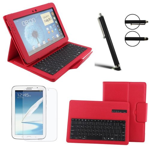 Boriyuan Book Style Ultra Slim Removable Detachable Wireless Bluetooth Keyboard Case Flip Folio Protective Pu Leather Stand Cover Carrying Shell For Samsung Galaxy Note 10.1 N8000 N8010 N8013 Tablet With Free Touch Stylus Pen And Screen Protector Red