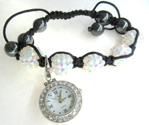 Ladies Womens SHAMBALLA Charm Bracelet Watch Ice White CRYSTAL Disco Ball Friendship Beads Swarovski Girls Watches