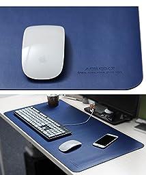 Junsi Blue Portable Microfiber Leather Oversized Mouse Pad Waterproof Office Desk Pad