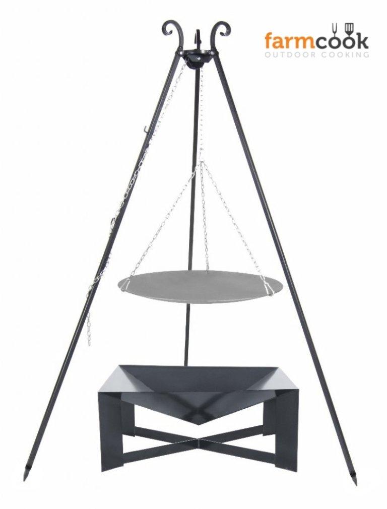 Dreibein Grill VIKING Höhe 180cm + Lagerfeuerpfanne aus Stahl Durchmesser 56cm + Feuerschale Pan34 Länge 70cm Breite 70cm jetzt bestellen