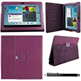 Samsung Galaxy TAB 2 10.1 P5100 - (Purple) Leather Case Cover and Flip Stand Typing Case Wallet Plus Free iZKA™ Gift: ProPen Stylus Pen (Touch-Screen Pen) iZKA® One Stop Shop For All Your Accessory Needs