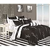 Cozy Beddings Magic Branches 100-Percent Cotton 7-Piece Duvet Cover Set, Queen, Black/White/Red